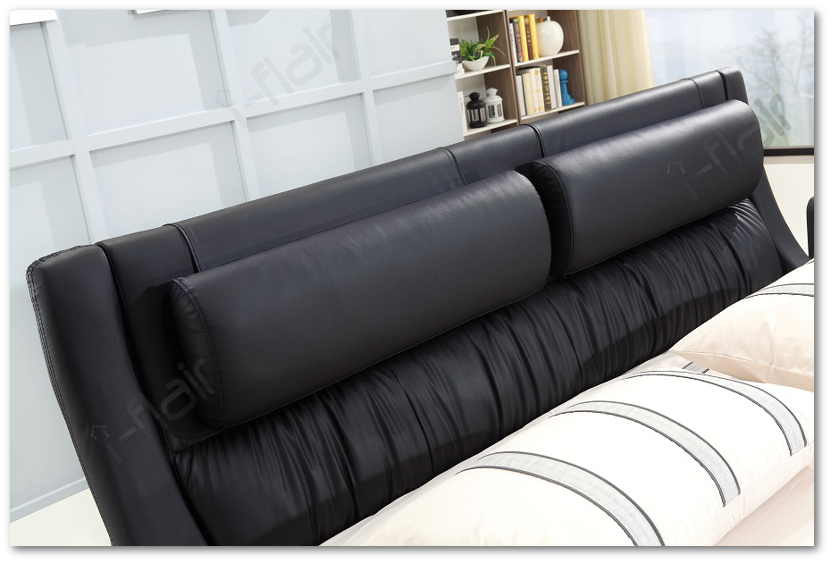 polsterbett doppelbett bettgestell design bett leandro 140x200 cm schwarz 48 ebay. Black Bedroom Furniture Sets. Home Design Ideas