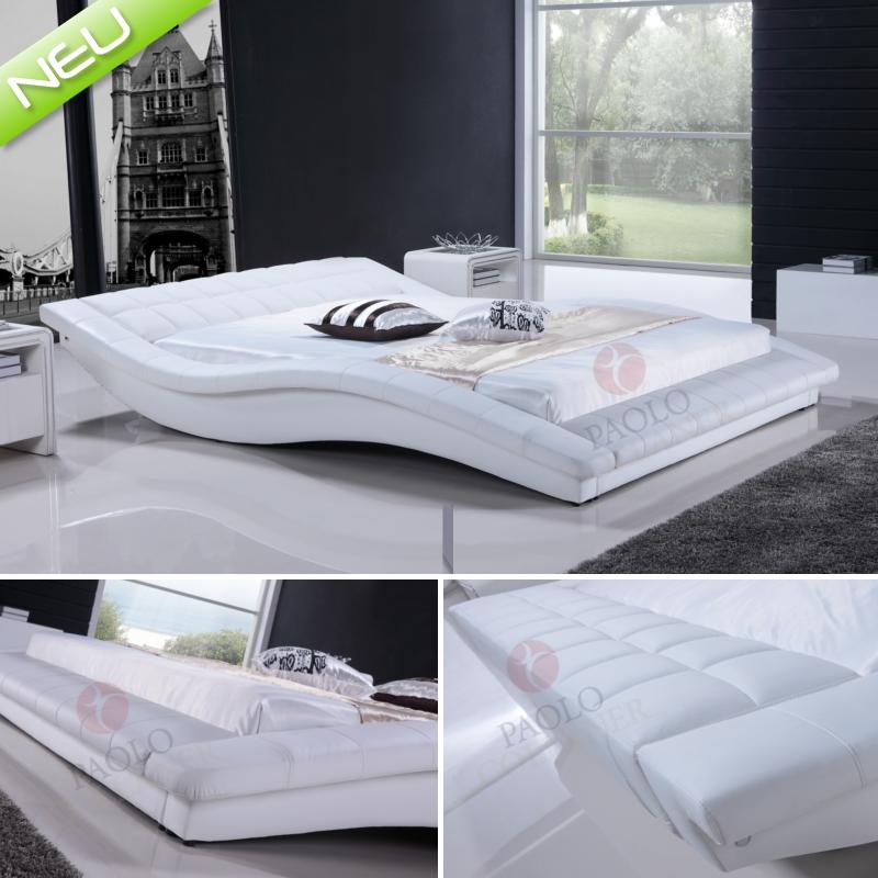 polsterbett bettgestell lederbett doppelbett bett hamilton 200x200 cm white ebay. Black Bedroom Furniture Sets. Home Design Ideas