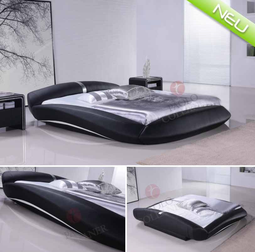 polsterbett bettgestell lederbett doppelbett bett manzana 200x200 cm schwarz ebay. Black Bedroom Furniture Sets. Home Design Ideas