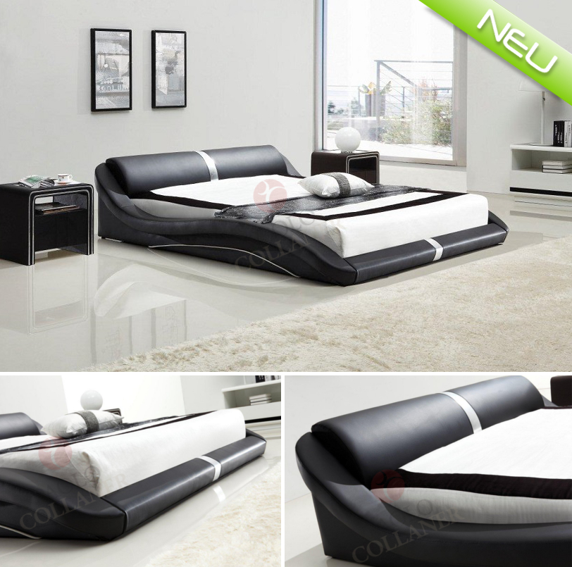 paola polsterbett doppelbett bettgestell bett 160x200 cm schwarz lederbett 58 ebay. Black Bedroom Furniture Sets. Home Design Ideas