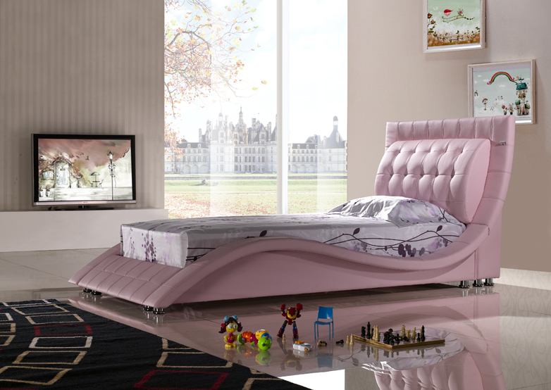 polsterbett kinderbett lederbett singlebett tropez 90x200. Black Bedroom Furniture Sets. Home Design Ideas