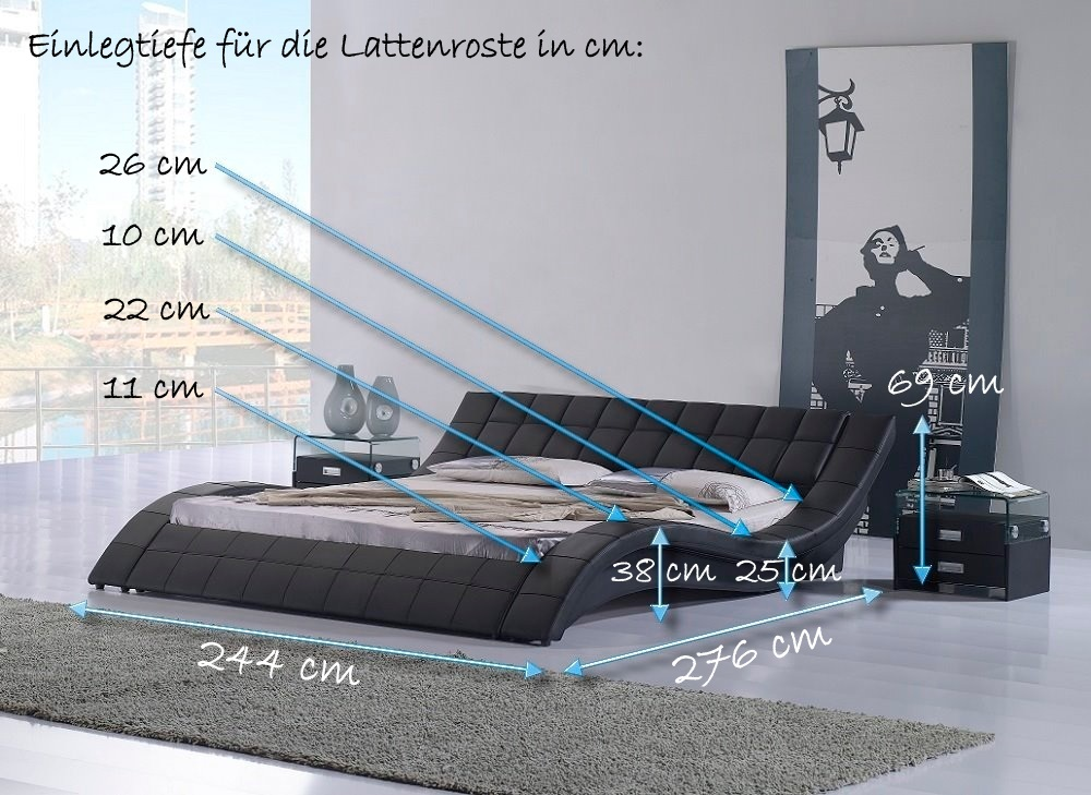 doppelbett bettgestell ehebett polsterbett raul 200x220 designer bett r08b neu ebay. Black Bedroom Furniture Sets. Home Design Ideas